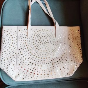 NWT pale pink large tote cutouts gold metallic